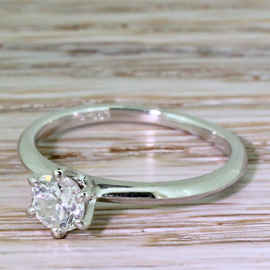 050 carat old cut diamond engagement ring platinum