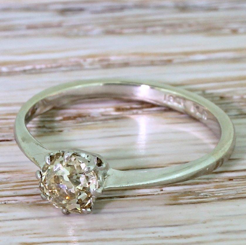 080 carat light brown old cushion cut diamond 18k white gold 038 platinum