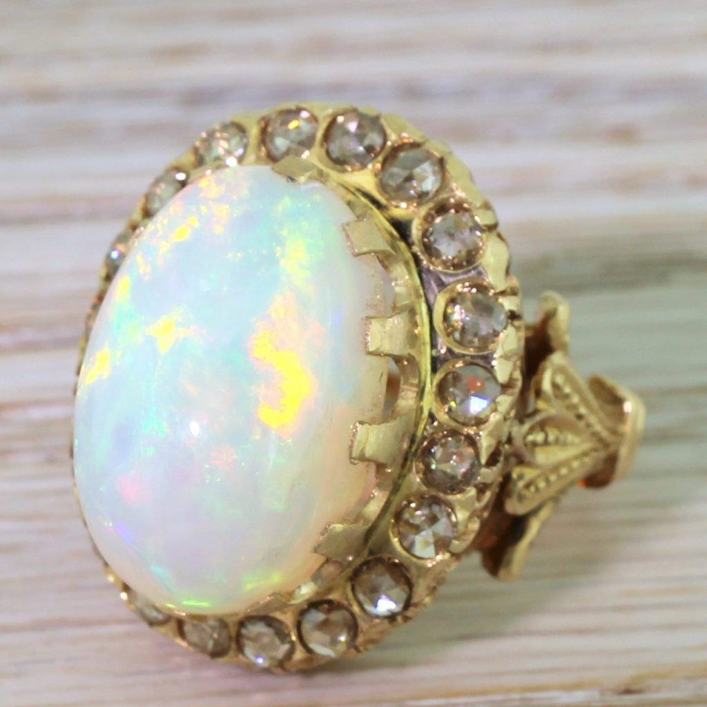 mid century 1050 carat opal 038 rose cut diamond cluster ring circa 1960