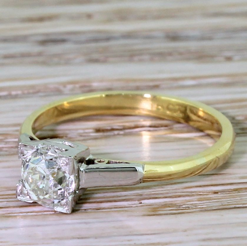 art deco 068 carat old cut diamond engagement ring circa 1915