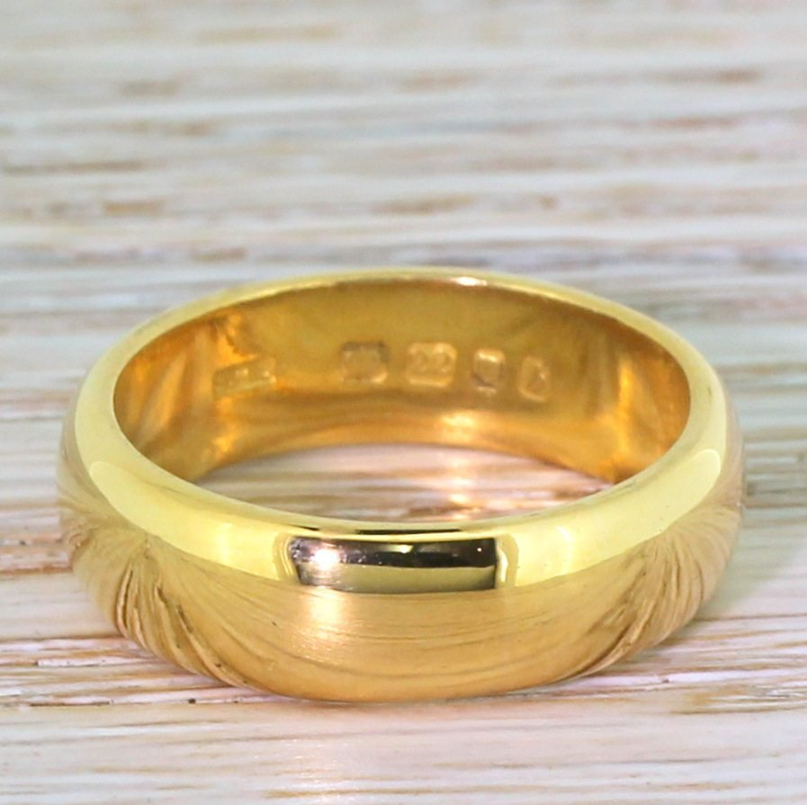 mid century 22k yellow gold wedding band dated 1963