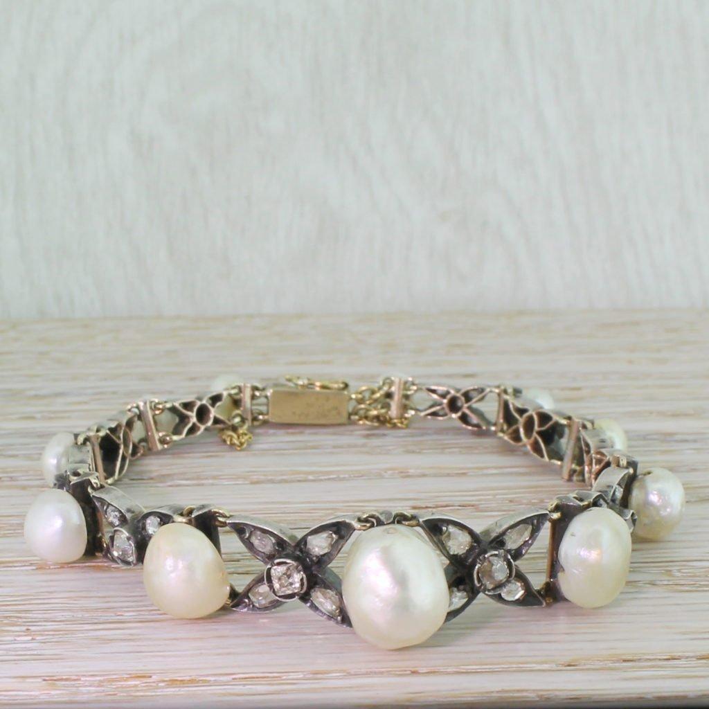 early victorian natural pearl rose cut 038 old cut diamond bracelet circa 1850