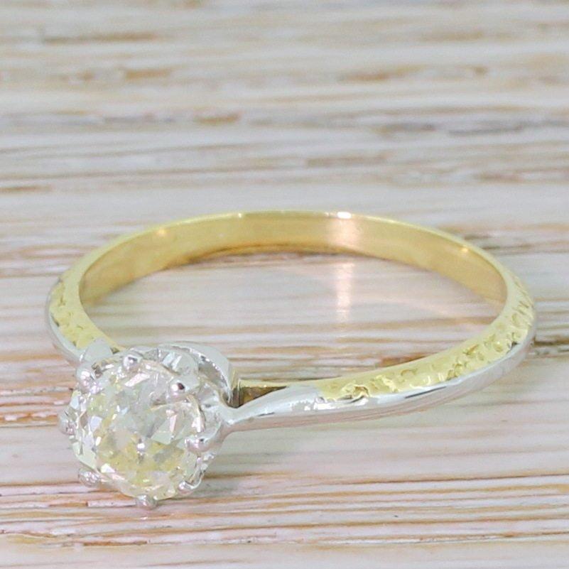 mid century 101 carat old cut diamond engagement ring circa 1965
