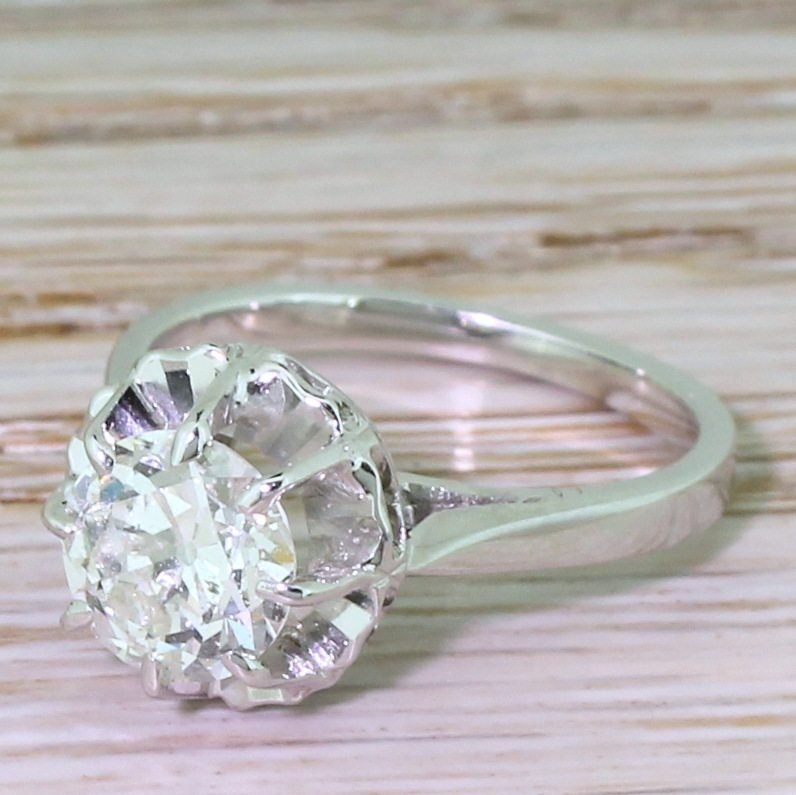 mid century 150 carat old european cut diamond engagement ring french circa 1955