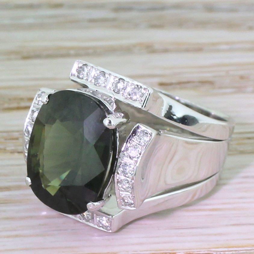 mid century 761 carat cushion cut natural green sapphire ring circa 1960