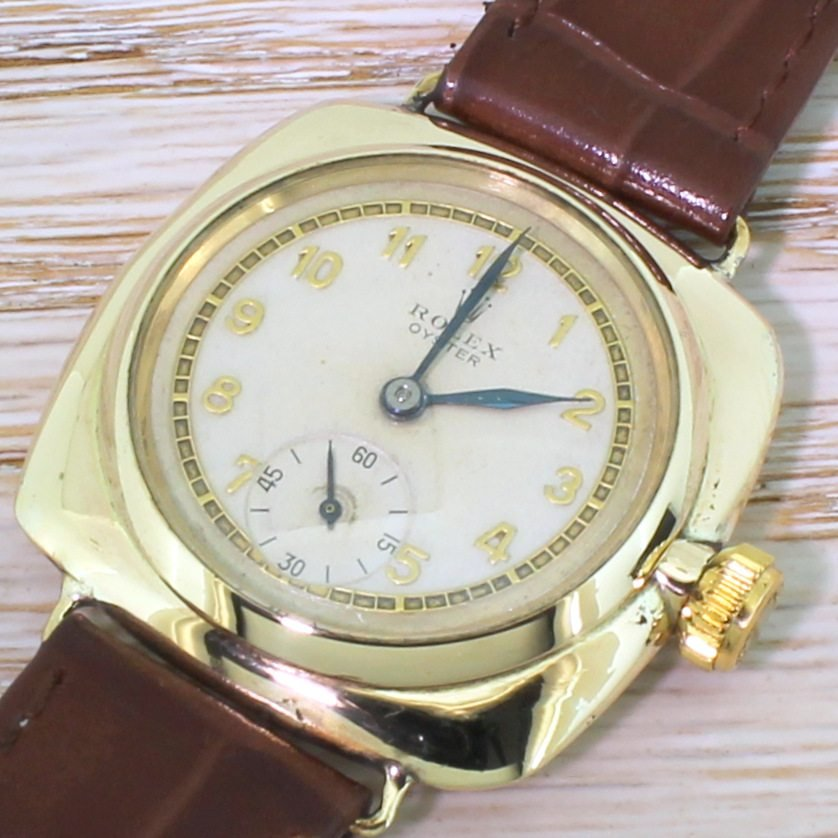rolex cushion shaped oyster watch dated 1938
