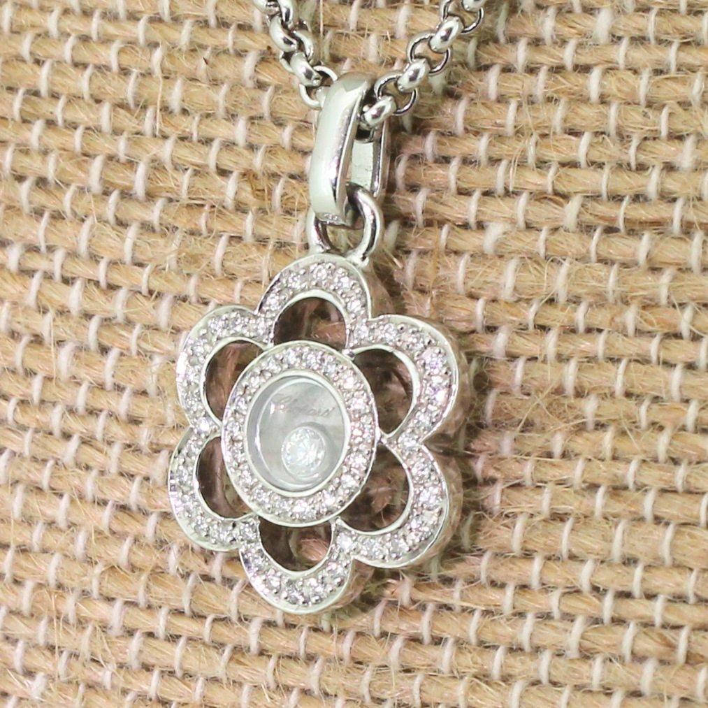 chopard happy diamonds flower pendant 18k white gold