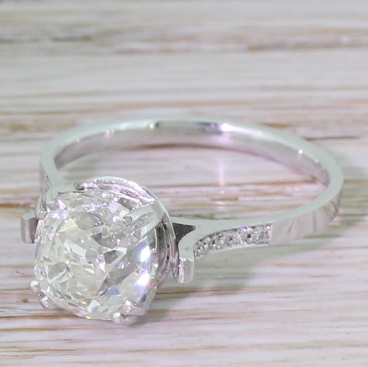art deco 207 carat old cut diamond engagement ring circa 1930