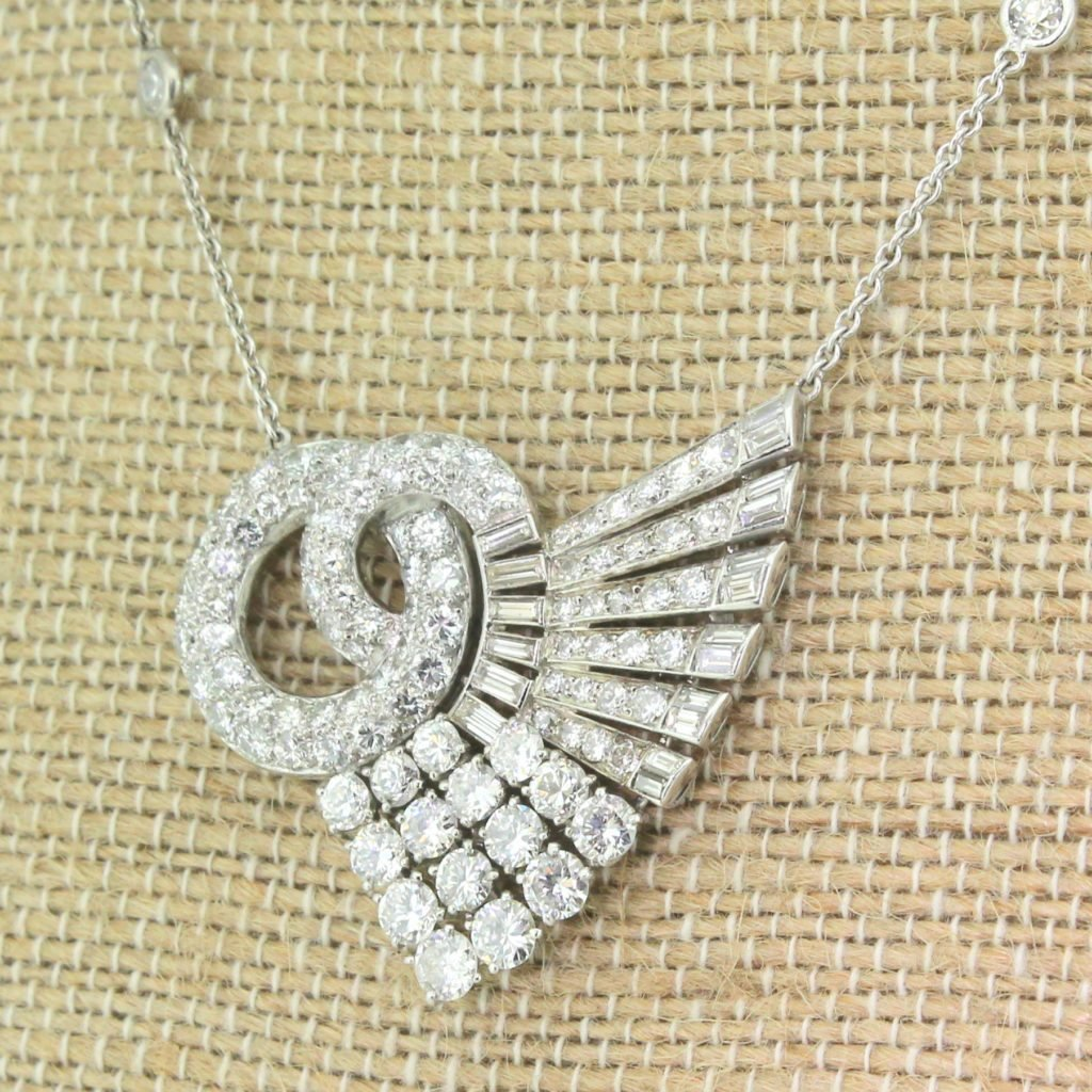 art deco 630 carat transitional cut 038 baguette cut diamond pendant circa 1940