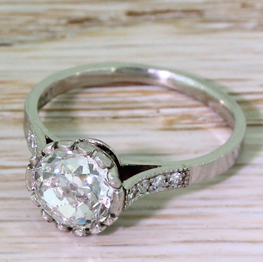 art deco 140 carat old cut diamond solitaire engagement ring circa 1920