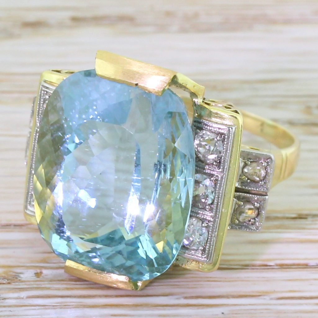 mid century 1980 carat aquamarine 038 diamond dress ring circa 1955