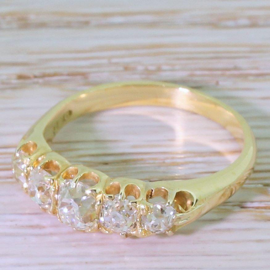 victorian 165 carat old cut diamond five stone ring circa 1900