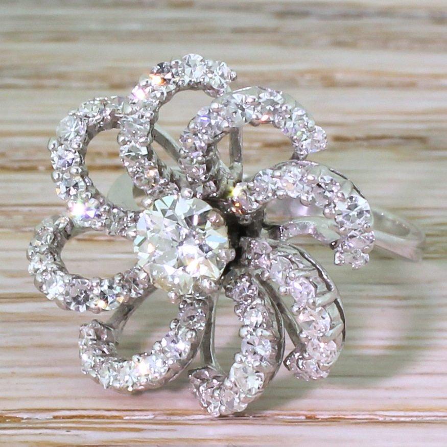 mid century 293 carat diamond 8220flower8221 dress ring circa 1965