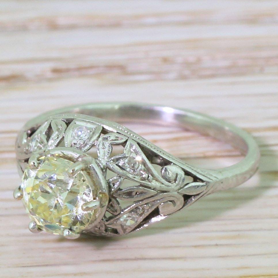 edwardian 125 light yellow old cut diamond engagement ring circa 1910