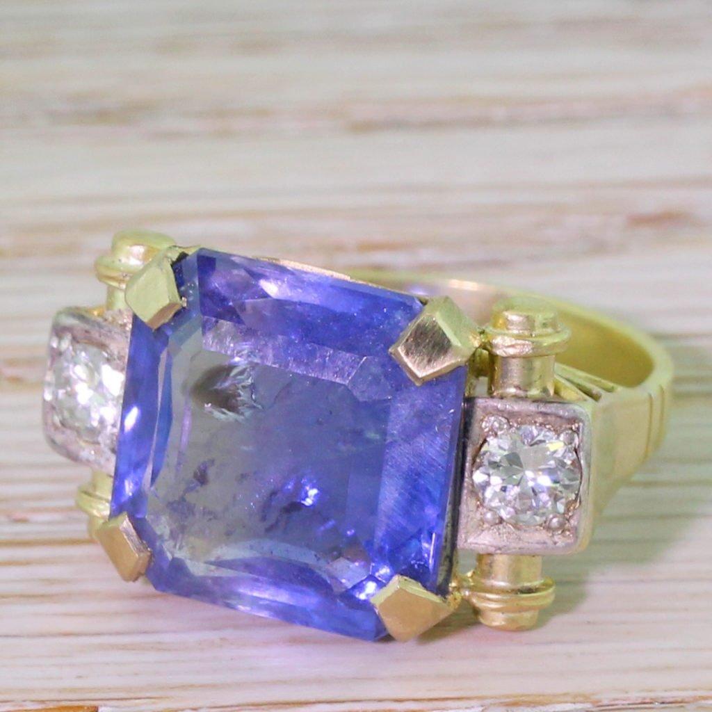 retro 1201 carat octagonal cut natural ceylon sapphire ring circa 1950