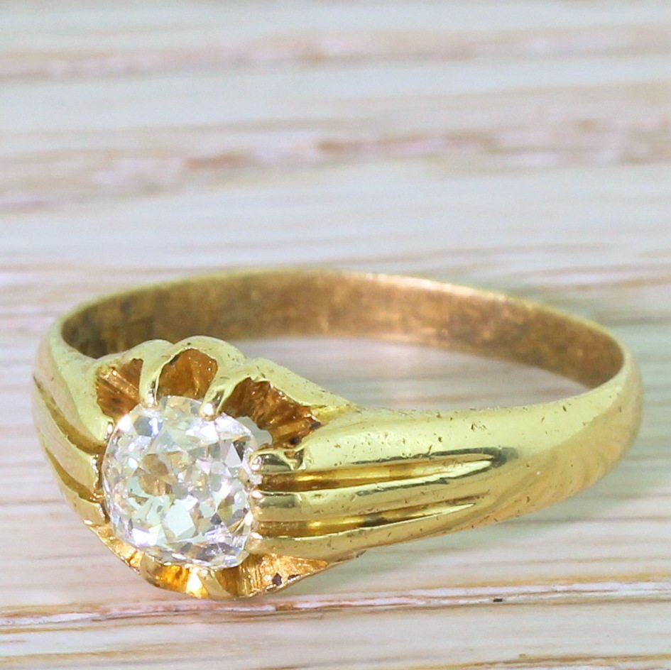 early 20th century 087 carat old cut diamond solitaire ring dated 1926