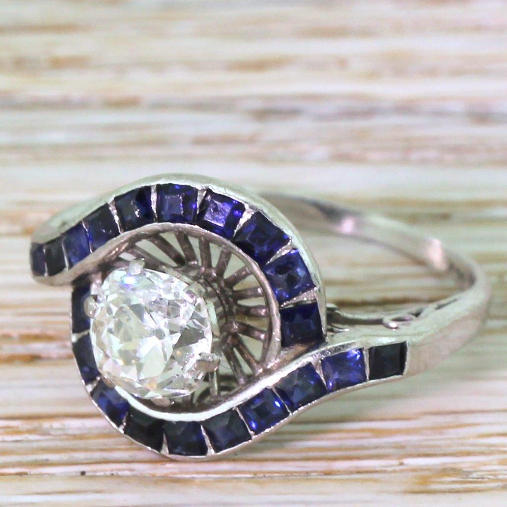 mid century 143 carat old cut diamond 038 calibr cut sapphire ring circa 1960