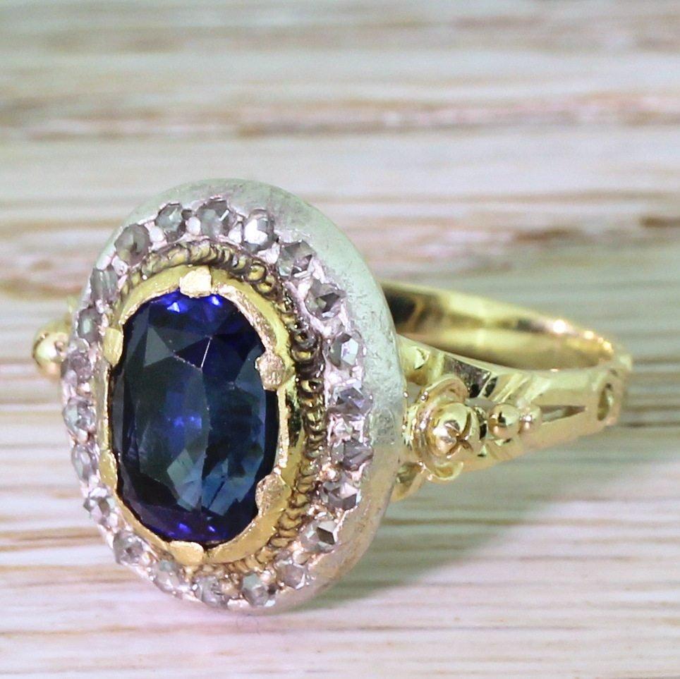 edwardian 296 carat natural ceylon sapphire 038 diamond ring circa 1910