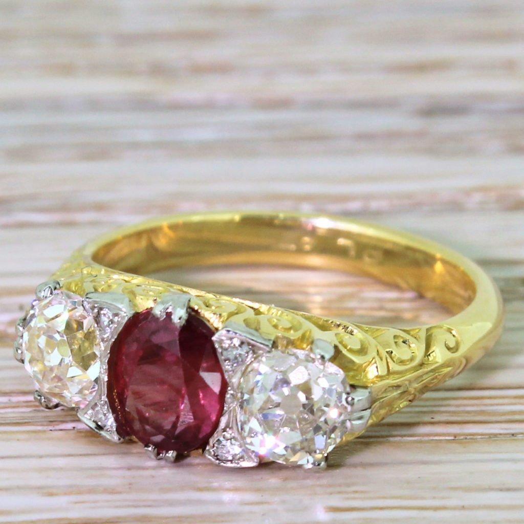 early 20th century 122 carat ruby 038 138 carat old cut diamond trilogy ring circa 1925