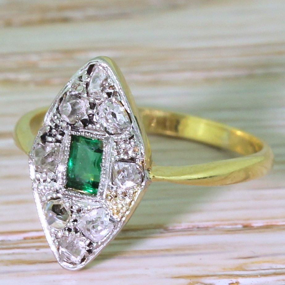 art deco emerald 038 rose cut diamond navette ring circa 1920
