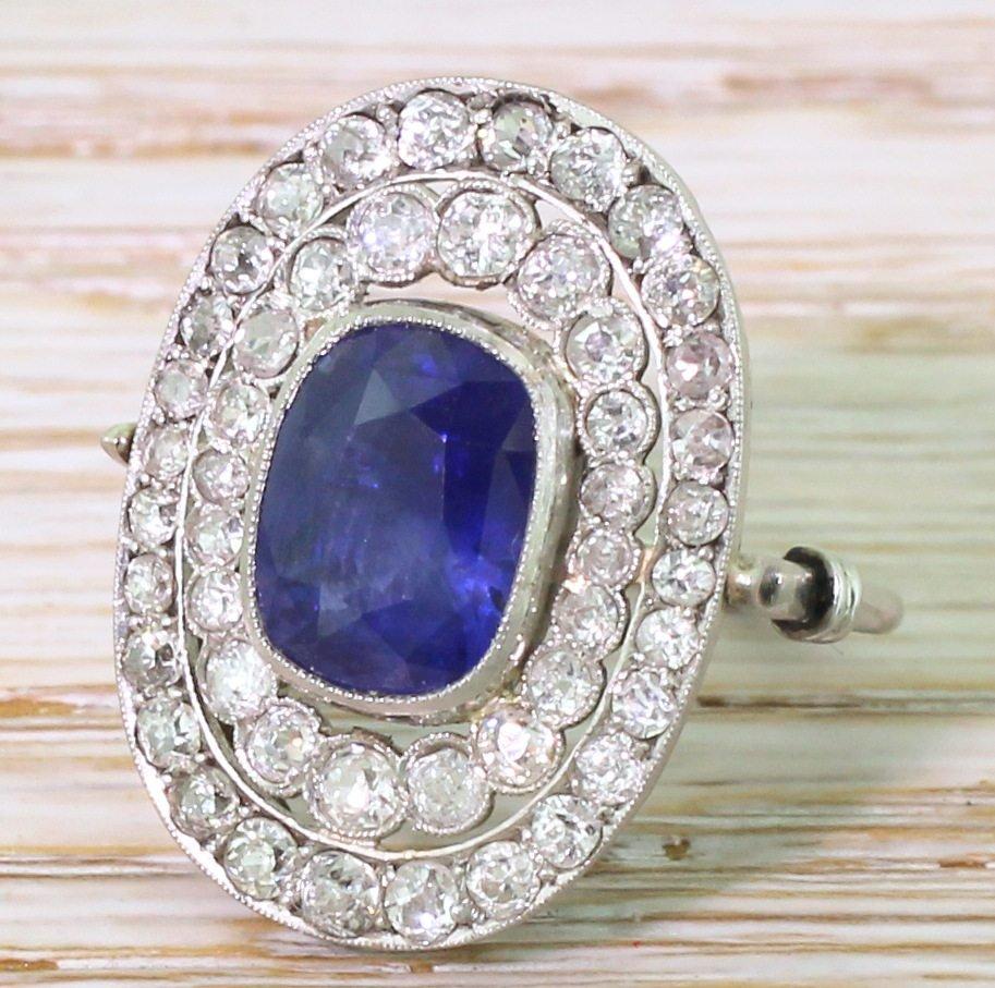 art deco 417 carat sapphire 038 old cut diamond double cluster ring circa 1935