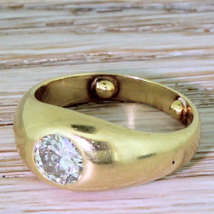 early 20th century 115 carat old european cut diamond solitaire ring circa 1920