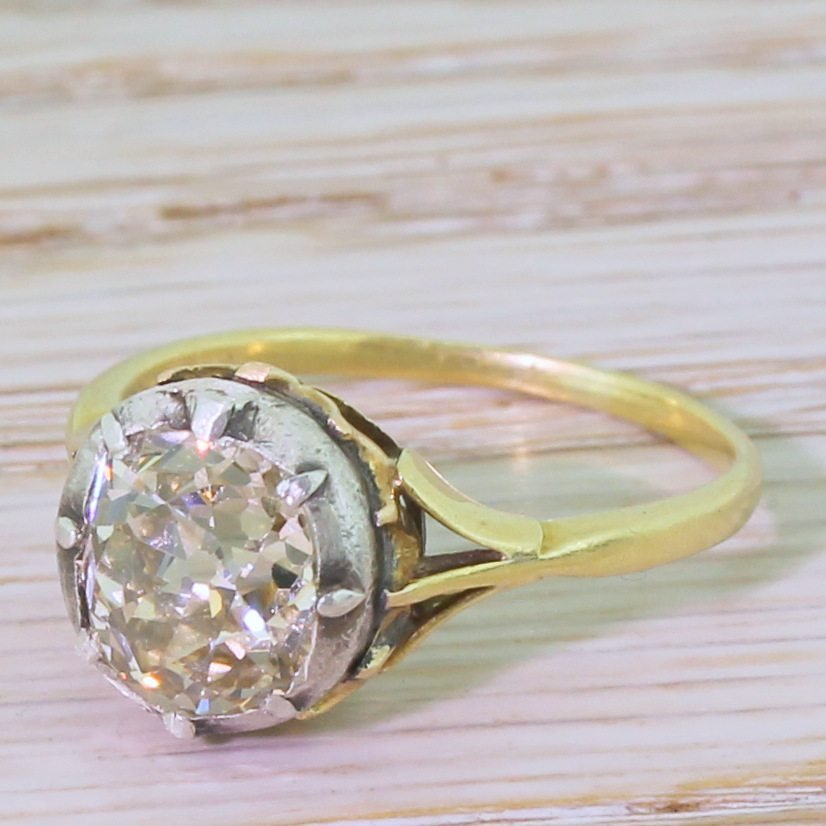 victorian 216 carat light yellow old cut diamond solitaire ring circa 1880