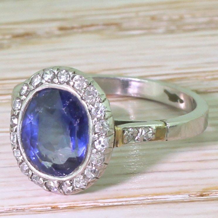 mid century 300 carat natural burmese sapphire 038 diamond ring circa 1955