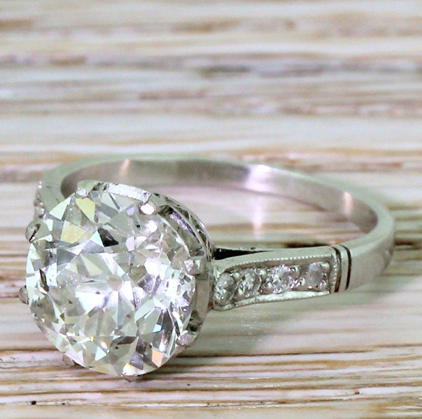 mid century 314 carat old cut diamond engagement ring circa 1965