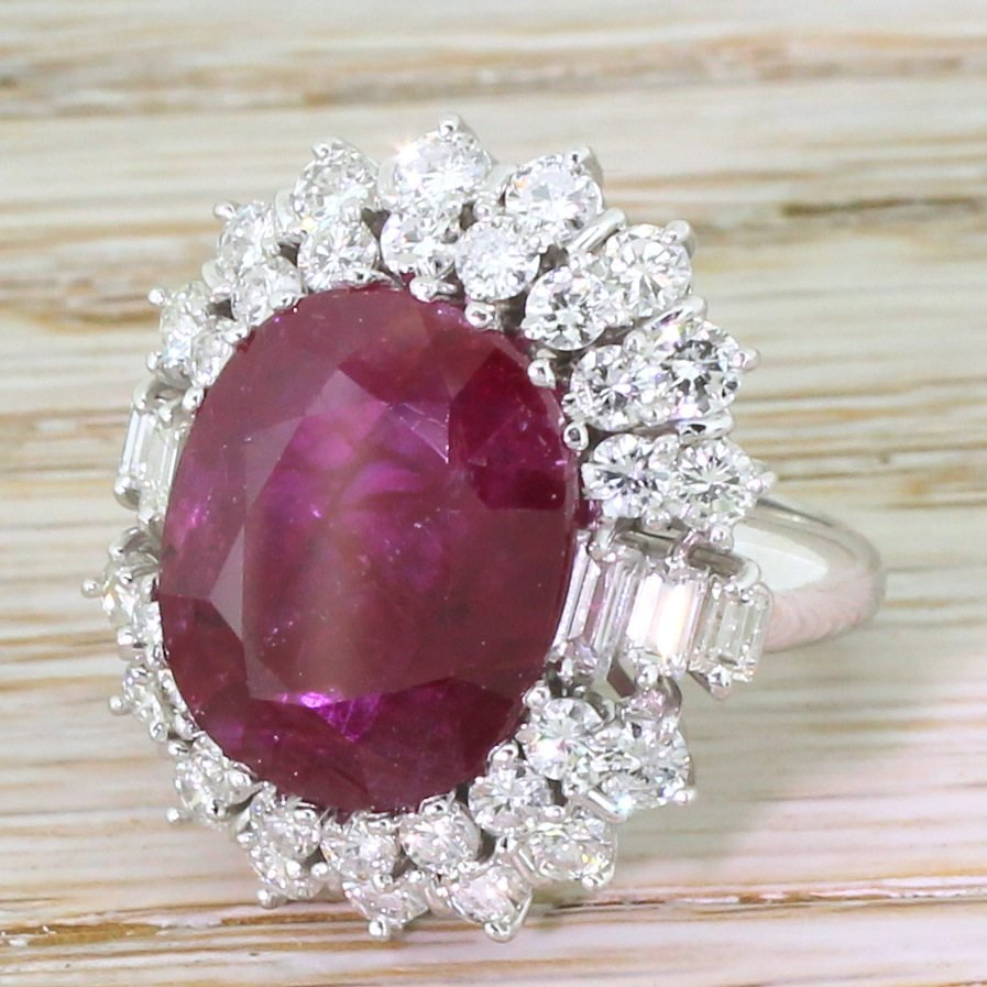 late 20th century 947 carat natural ruby 038 diamond ring circa 1970