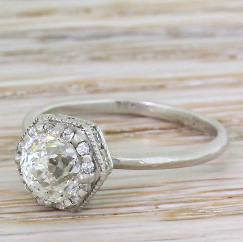 late 20th century 100 carat rose cut diamond solitaire ring circa 1980