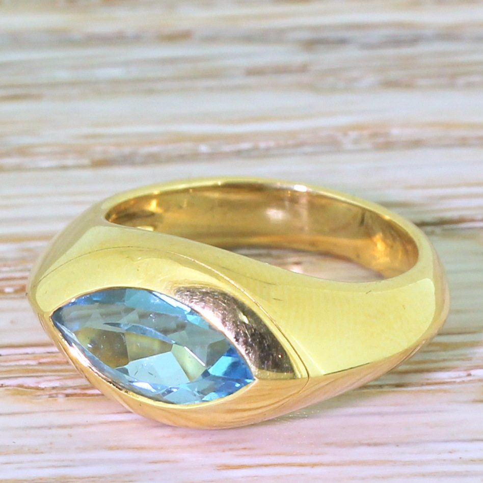 mid century marquise cut topaz solitaire ring french circa 1960