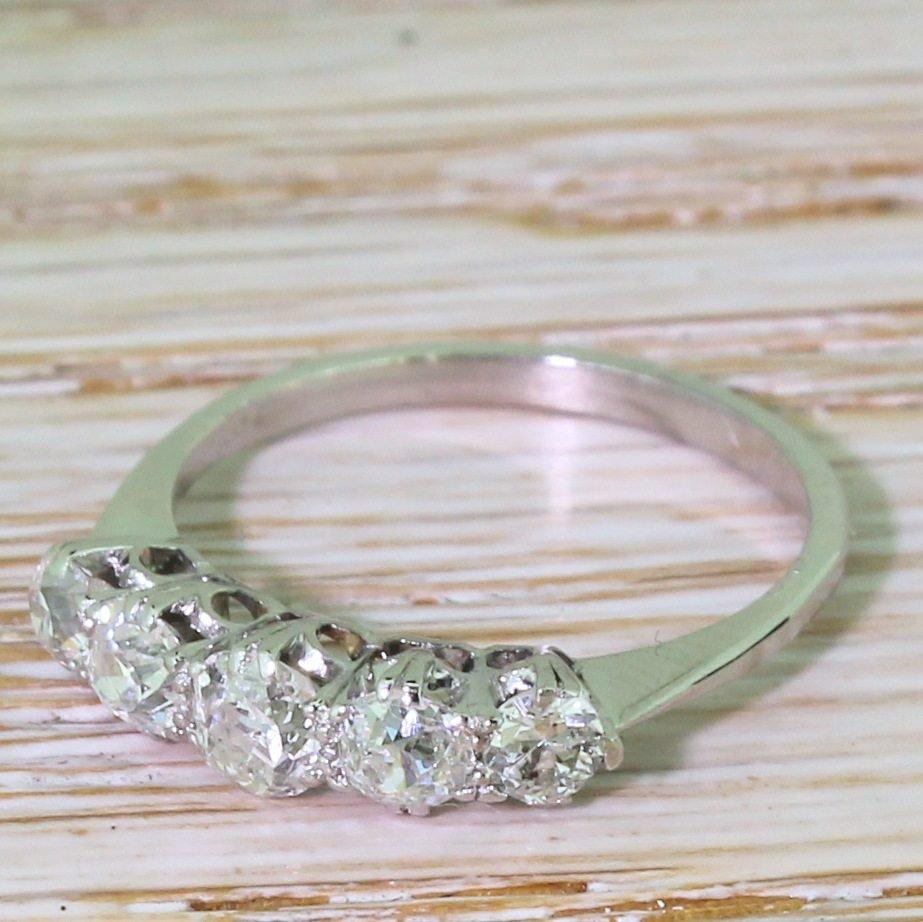 art deco 090 carat old cut diamond five stone ring circa 1935