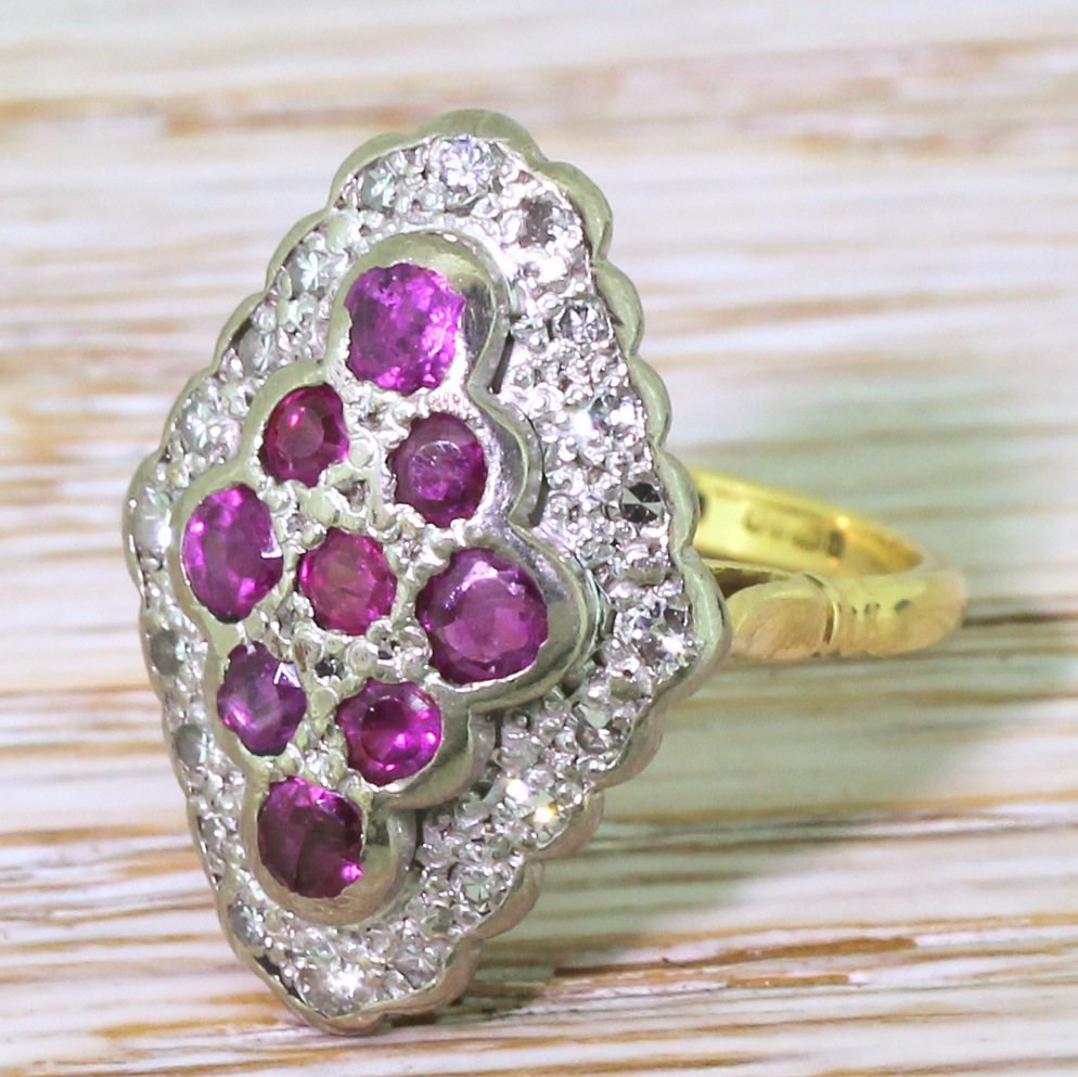 late 20th century ruby 038 diamond navette cluster ring dated 1990