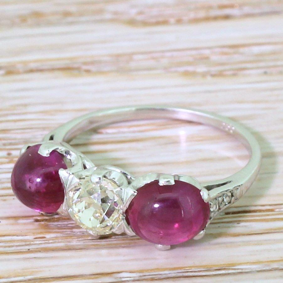 art deco old cut diamond 038 cabochon ruby trilogy ring circa 1940