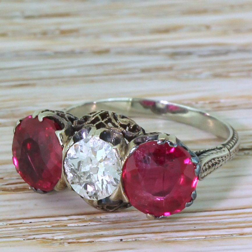 art deco 080 carat old cut diamond 038 synthetic ruby trilogy ring circa 1930
