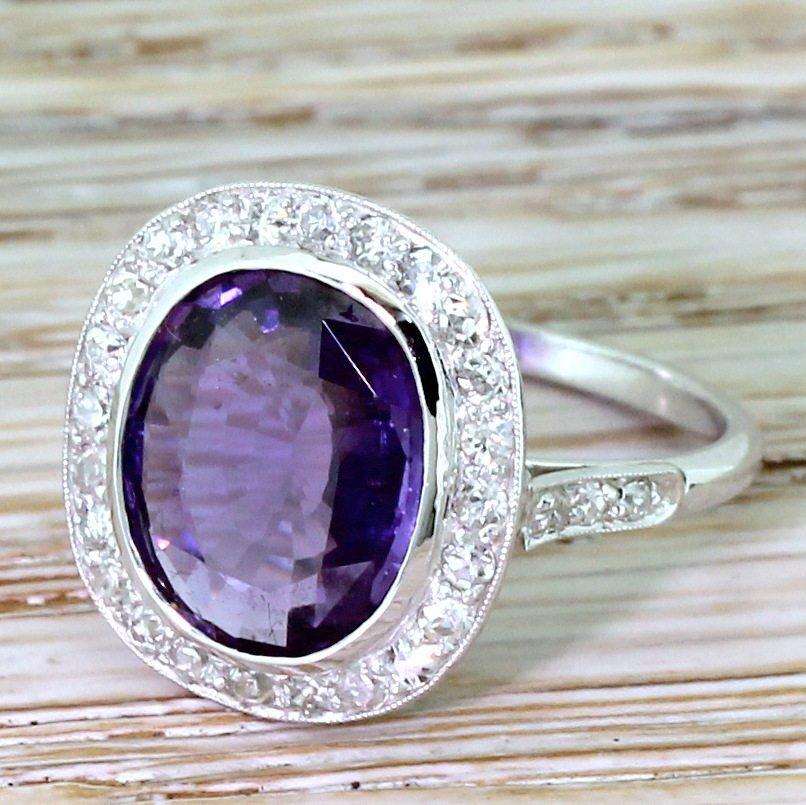 retro 350 carat natural purple sapphire 038 diamond ring circa 1950