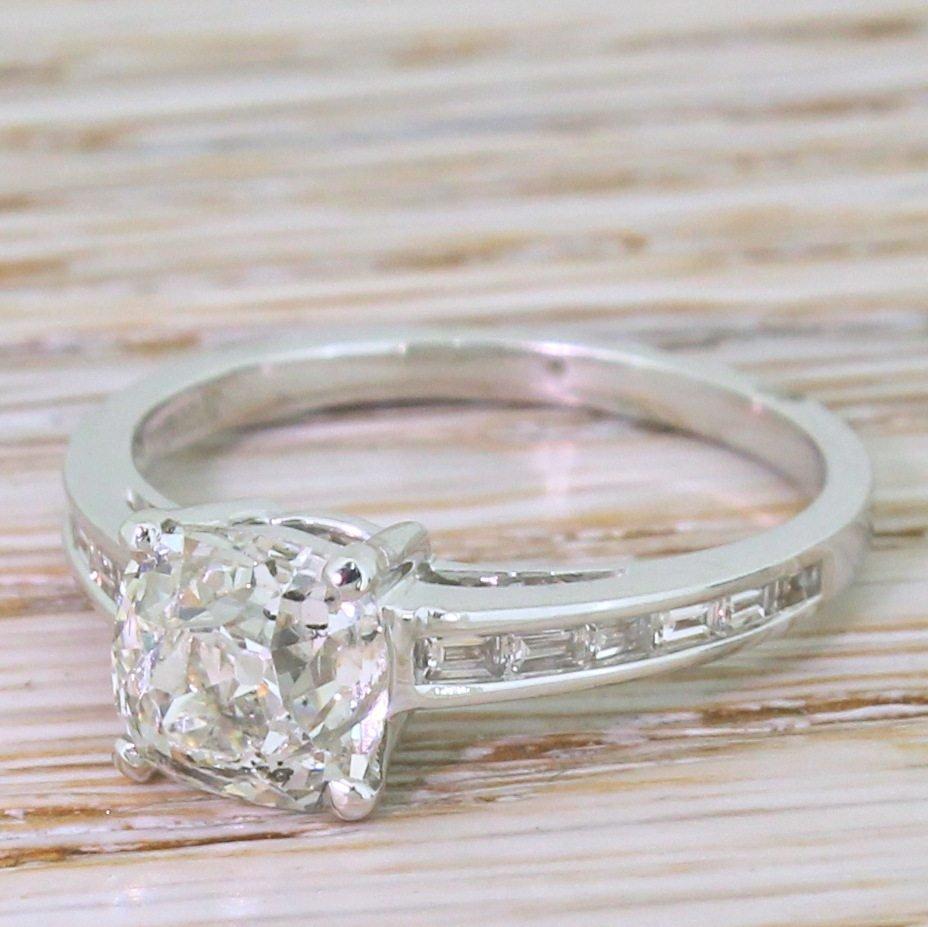 mid century 177 carat old cut diamond engagement ring circa 1960