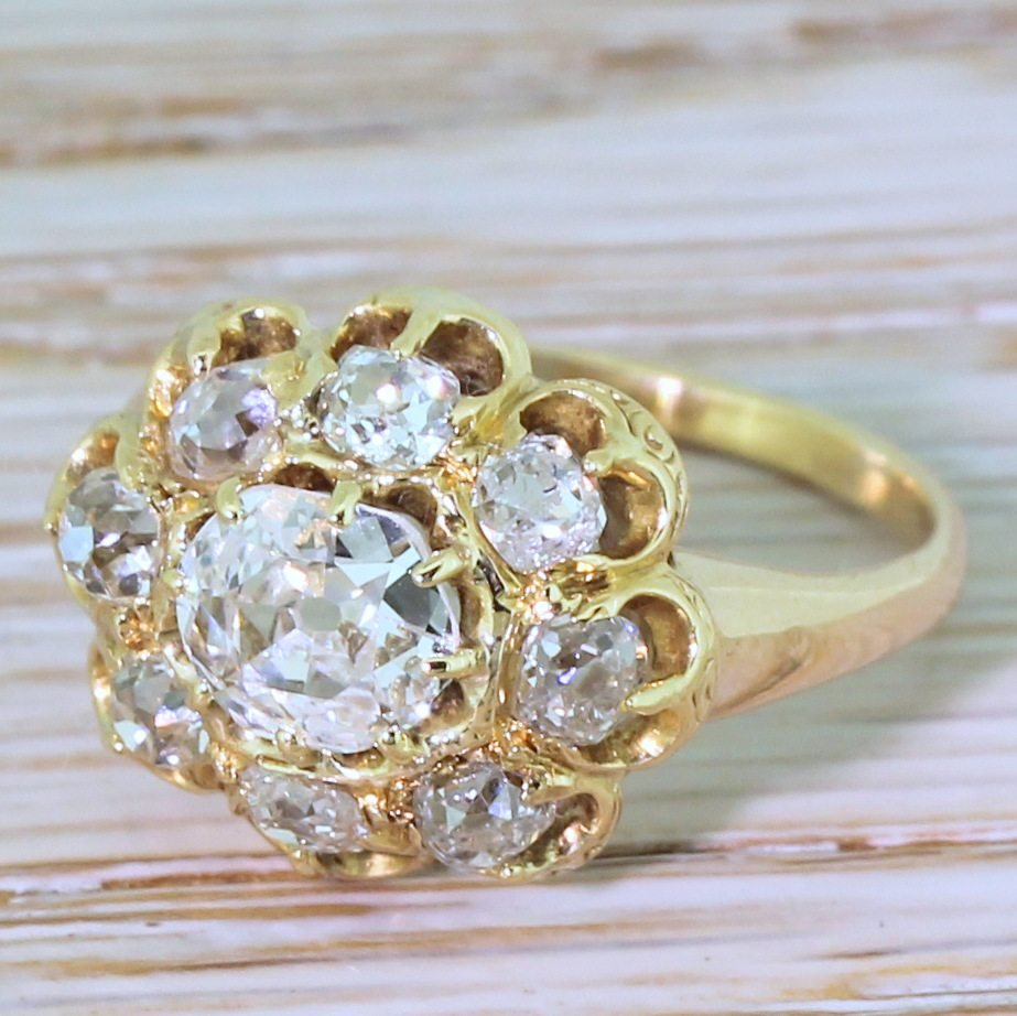victorian 155 carat old cut diamond cluster ring circa 1900