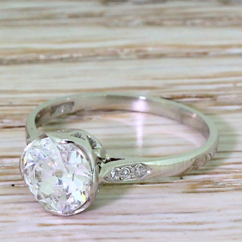 art deco 126 carat old cut diamond engagement ring circa 1925