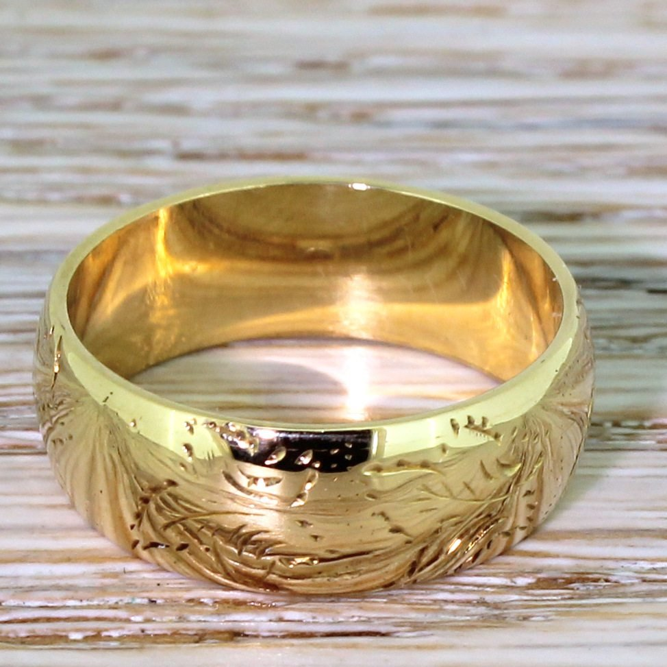 late 20th century 18k yellow gold wedding band ring dated 1970