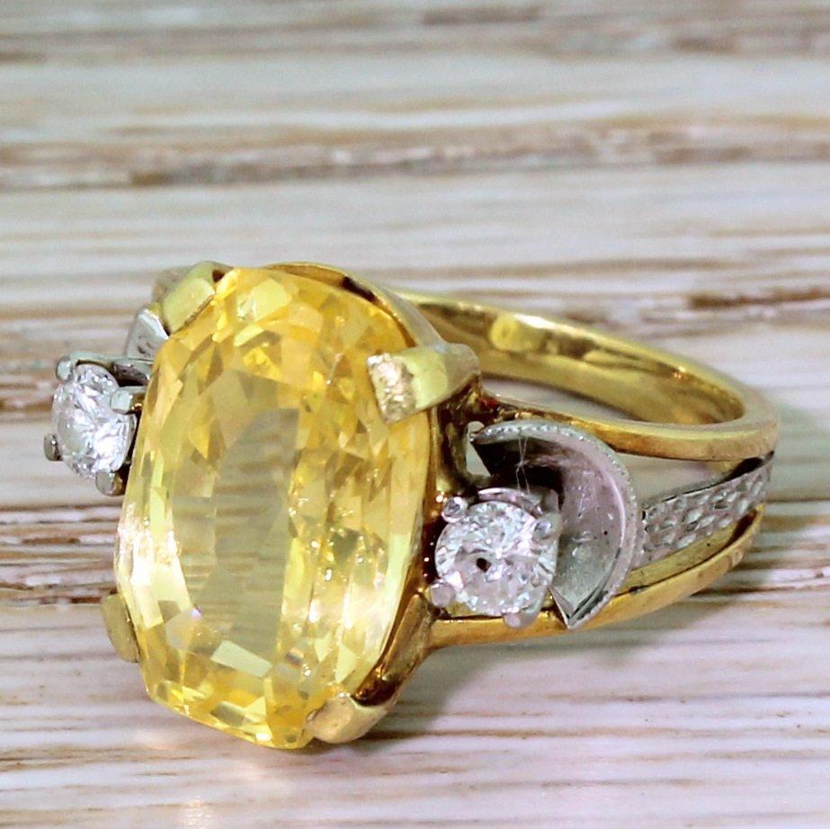 mid century 570 carat natural ceylon yellow sapphire ring circa 1955
