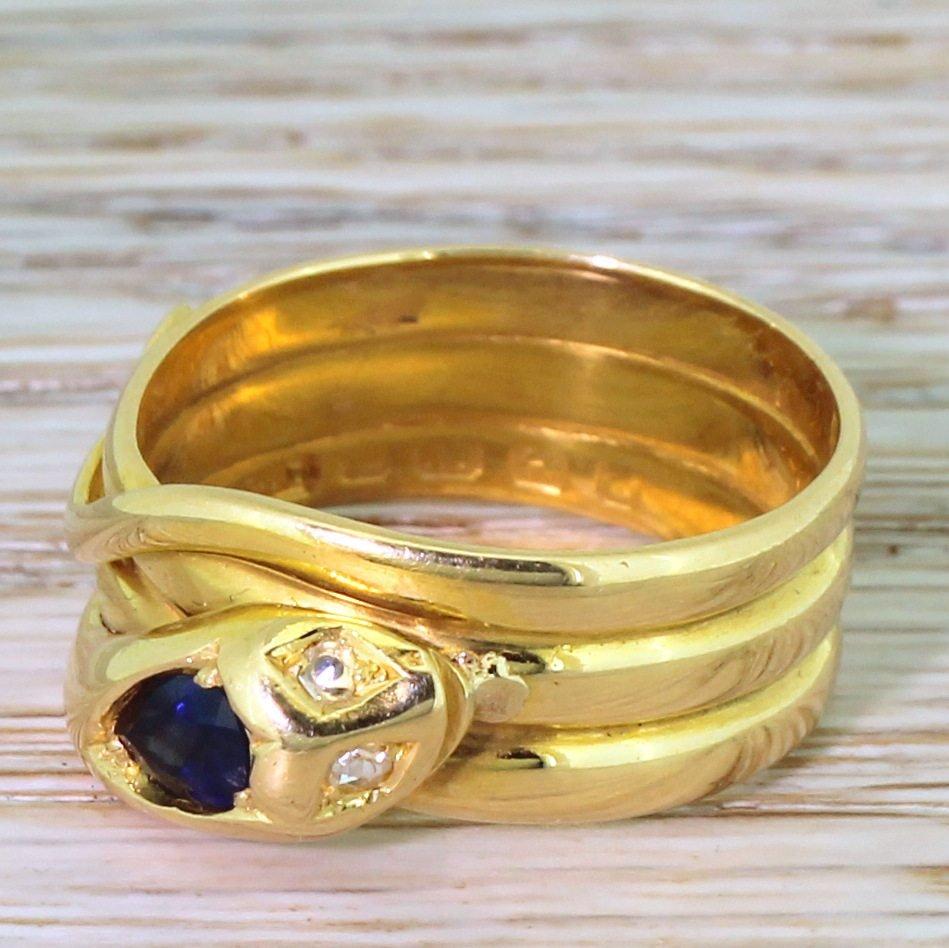 victorian sapphire 038 diamond snake ring dated 1888