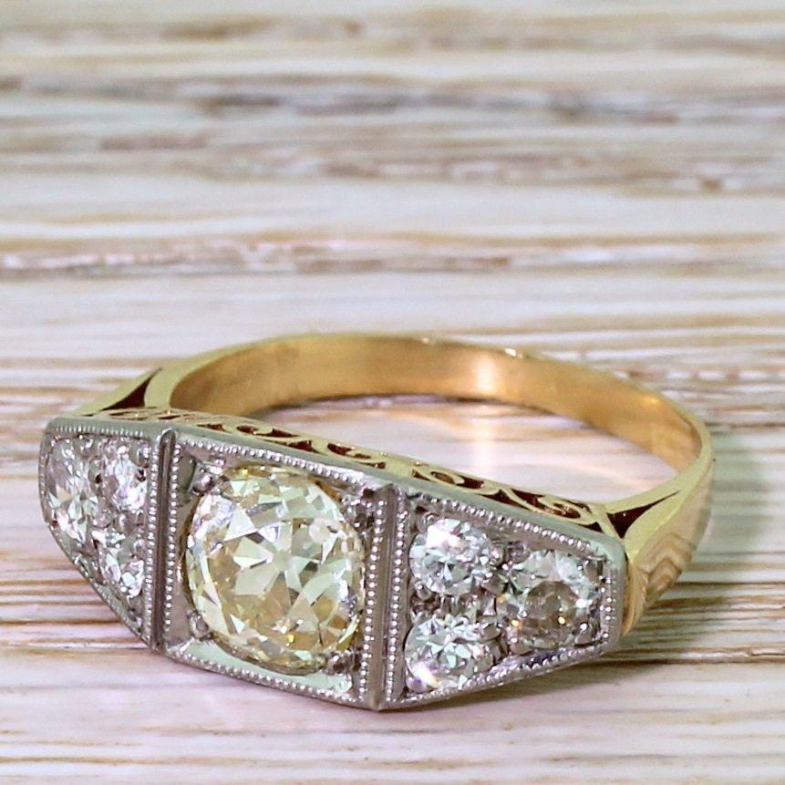 art deco 162 carat old cut diamond ring circa 1940