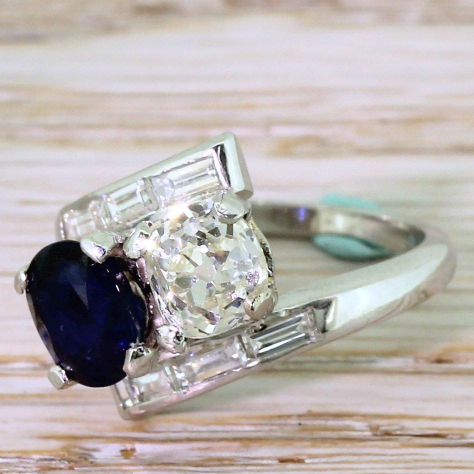 art deco 133 carat old cut diamond 038 140 carat sapphire crossover ring circa 1925