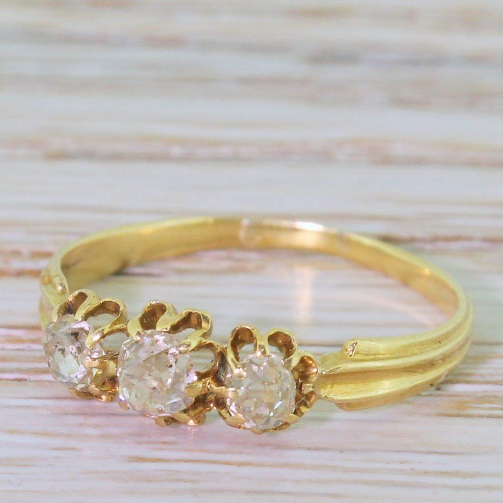 edwardian 080 carat old cut diamond trilogy ring french circa 1905