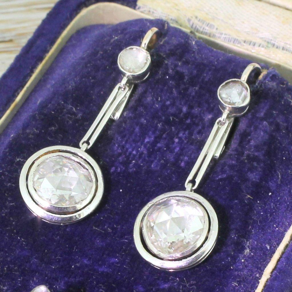 art deco 220 carat rose cut diamond drop earrings circa 1930