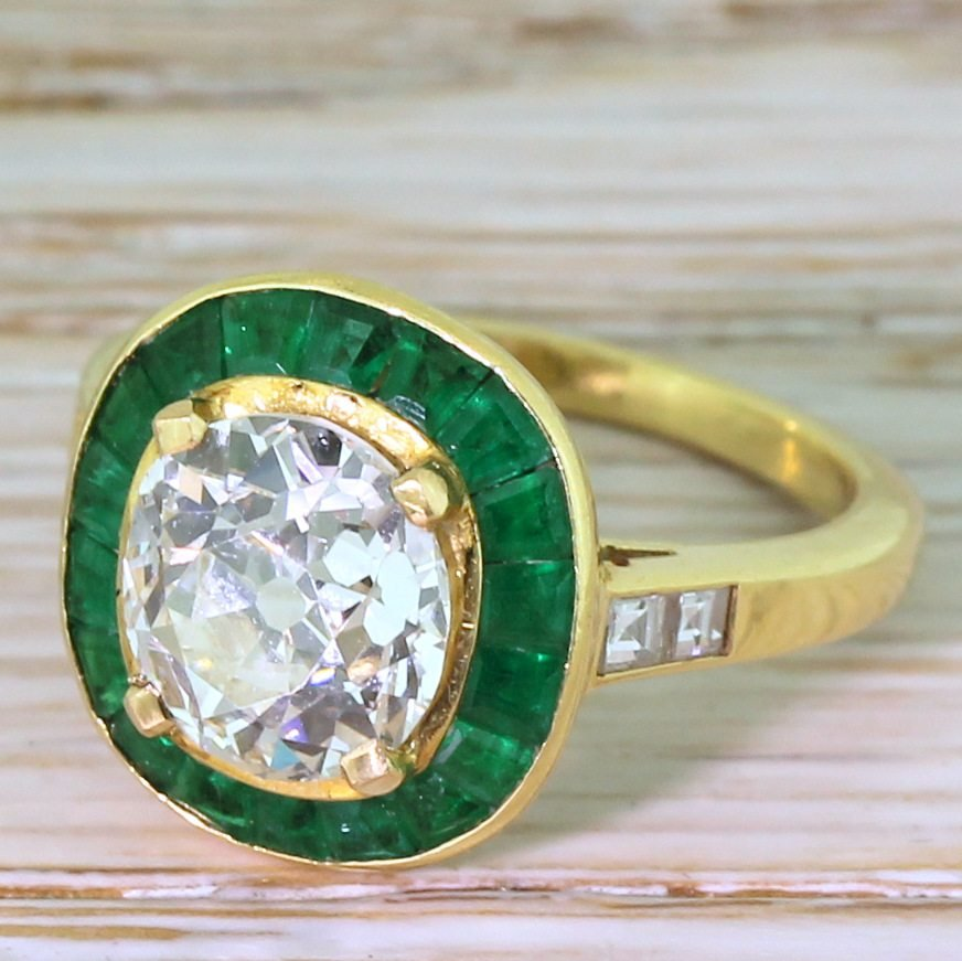 mid century 191 carat old cut diamond 038 emerald halo ring french circa 1950