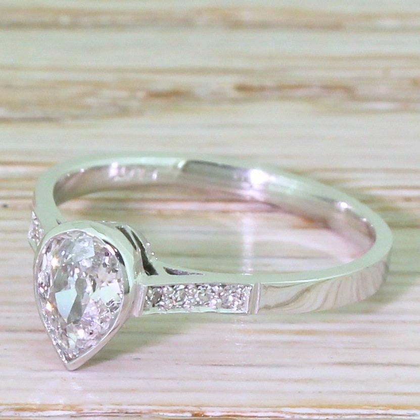 art deco 062 carat old pear cut diamond engagement ring circa 1930