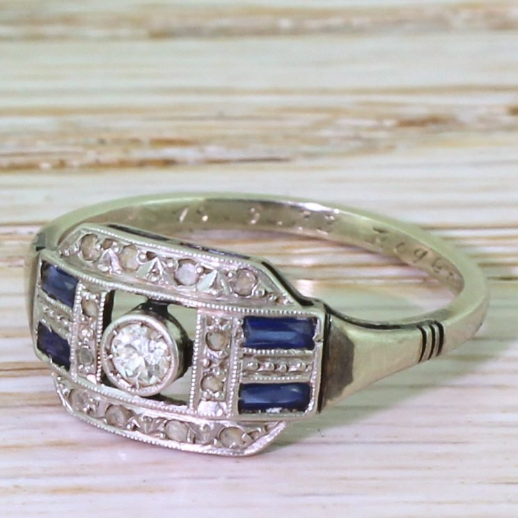 art deco old cut diamond 038 baguette cut sapphire ring french dated 1933
